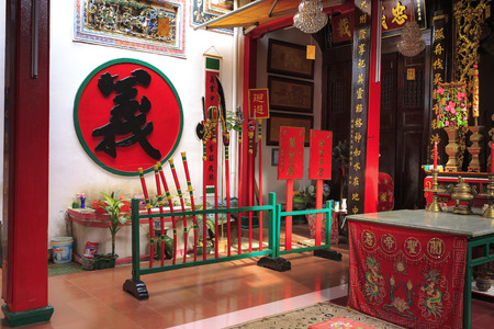 Phan Rang city, Viet Nam - December 25, 2016: interior of an ancient temple of the Chinese people in the Phan Rang city, Vietnam