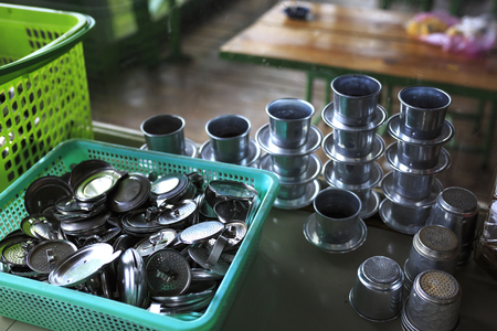 condensed: Dripper tools for making coffee vietnam. Hot coffee at cafe in restaurant