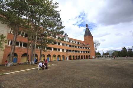 pedagogical: Da Lat town, Viet Nam - February 19th, 2017: Images a pedagogical college in the town of Dalat. Unique architectural works built by the French in 1927. here have been recognized as national heritage