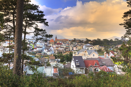 Da Lat town, Vietnam - February 18, 2017: Image of Da Lat town at dawn, as seen from on the top of the hill