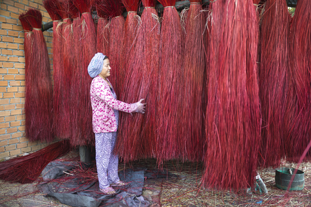Dinh Yen weaving mat village, Dong Thap province, Vietnam - March 18, 2017: A woman is checking the quality of Cyperus bundles before moving to factory to weave sleeping mats