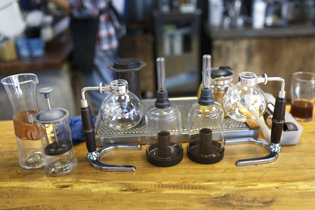 Da Lat town,Vietnam - April 29, 2017 :  Tools for making coffee at the La Viet cafe in Da Lat town, Vietnam Editorial