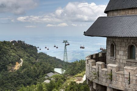 Ba Na Hill Resort, Danang, Vietnam - July 5, 2018: Scene of cable car serve tourists at Ba Na Hill mountain resort. Ba Na Hill mountain resort is a favorite destination for many tourists