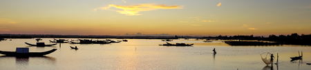 View panoramic of dawn on Quang Loi lagoon in Tam Giang lagoon, Hue City, Vietnam. Stock fotó