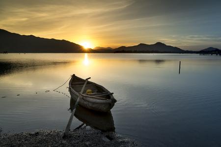 Beautiful sunset in Lap An lagoon, Hue City, Vietnam