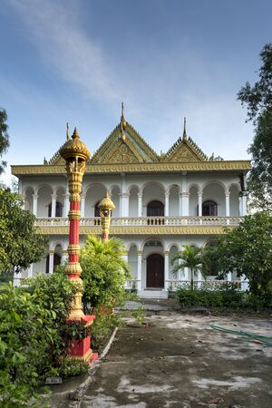 temple of the Khmer in Tinh Bien, An Giang province, Vietnam -  September 23, 2018: the beauty of the ancient architecture of a temple of the Khmer in An Giang Province, Vietnam. An Giang province is home to many temples of the Khmer