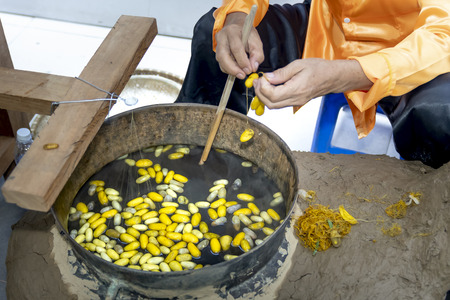 Boiling Silkworms' cocoons to separate silk threads and cocoon's thread was empty Foto de archivo