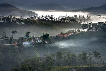 Beautiful images of the radiant dawn as the paradise with reflecting rays in the hills and mountains in the fanciful clouds in Lam Dong province, Vietnam. 스톡 콘텐츠