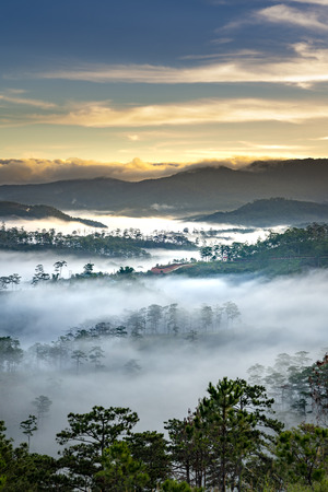 Beautiful images of the radiant dawn with reflecting rays through the fanciful clouds on over the pine forests, which created an impressive breathtaking scene of highlands in the morning in Dalat, VN