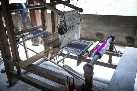 handmade weaving frames of Tay people (ethnic minorities) in Thuong Lam and Na Hang communes, Tuyen Quang province, Vietnam Standard-Bild - 119542681