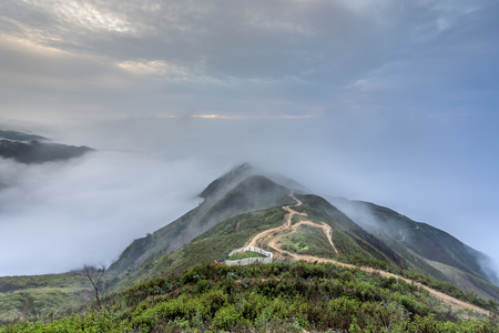Beautiful landscape with fog and mountain in Ta Xua, Son La, Vietnam