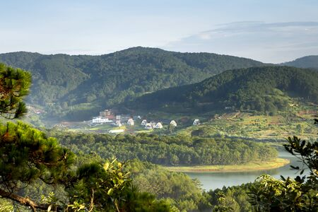 A corner of Tuyen Lam lake looks from the top of Pinhatt mountain in the dawn at Da Lat city, Vietnam