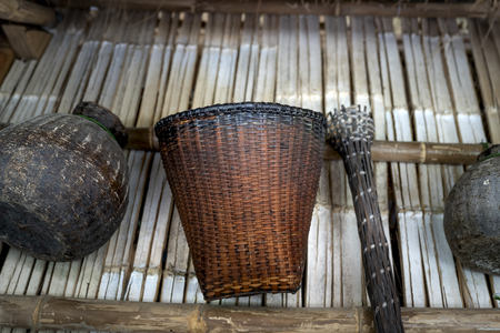 Phu Yen Province, Vietnam - July 21, 2019: Collection of old bamboo baskets of shrimp and fish farmers on display at the Sea Cliff Resort in Phu Yen Province, Vietnam Stockfoto - 132420240