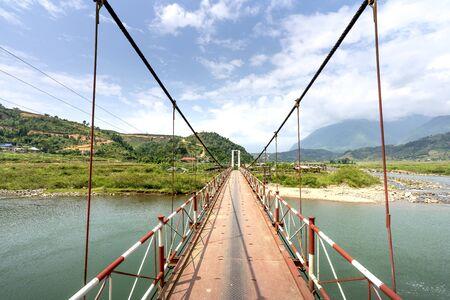 Suspension bridge in the Northwest mountains, Son La province, Vietnam