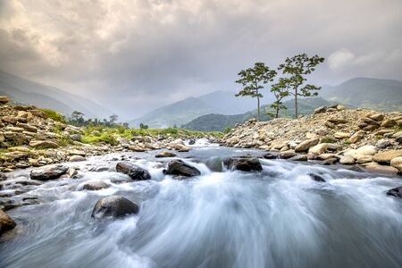Beautiful scene of the stream at high mountains Mu Cang Chai, Yen Bai Province, Vietnam Stockfoto
