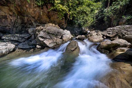 The stream inside the rainforest on a rainy day Stockfoto