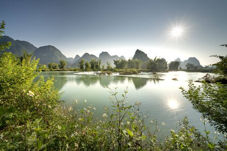 Beautiful scenery at the dawn of rice season in Ngoc Con commune, Trung Khanh district, Cao Bang province, VietNam. Stockfoto