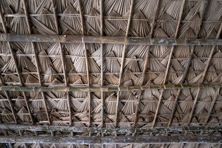 Close up of a thatched roof with palm leaves in northern Vietnam