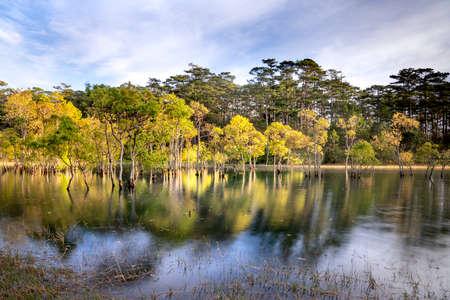 Mountain landscape, lake and mountain range, large panorama, fisherman, forest. Tuyen Lam lake, Dalat, Vietnam