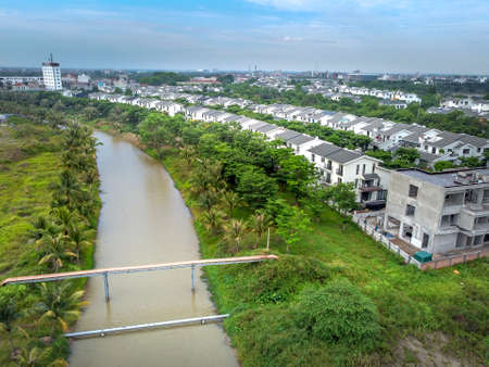 Ecopark urban Area, Hung Yen, Vietnam view from above - Ecopark urban area plan an open space designed to emphasize the relationship between people and two basic elements of nature: trees - water