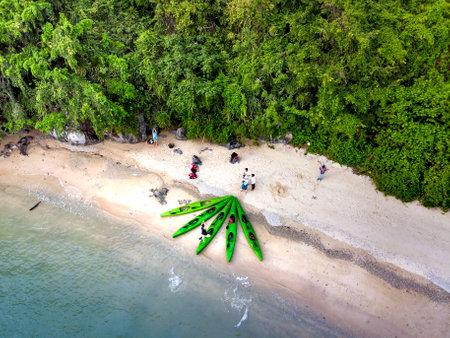 Tourists kayaking on Halong Bay, Vietnam