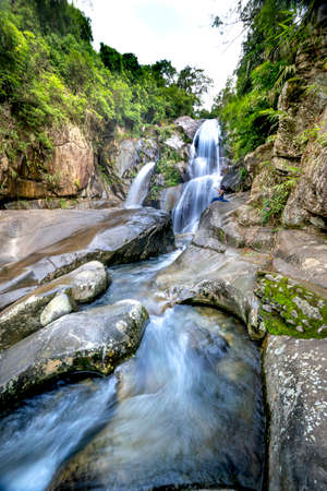Waterfall in a tropical forest in Binh Lieu District, Quang Ninh Province, Vietnam