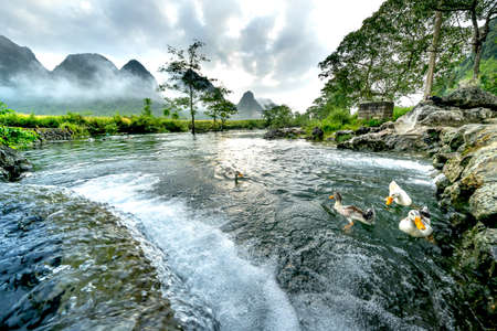 Early morning at a stream with clear water in Ngoc Con district, Cao Bang province, Vietnam