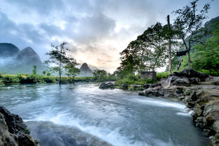 Early morning at a stream with clear water in Ngoc Con district, Cao Bang province, Vietnam Banque d'images