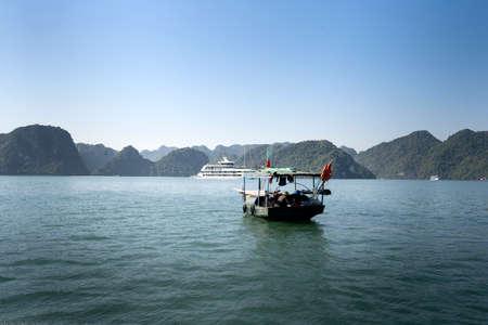 A fisherman's boat on Lan Ha Bay, Quang Ninh Province, Viet Nam