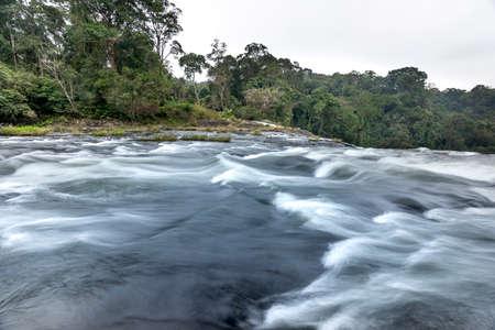 on top of the majestic waterfall K50 in Pleiku, Gia Lai province, Viet Nam