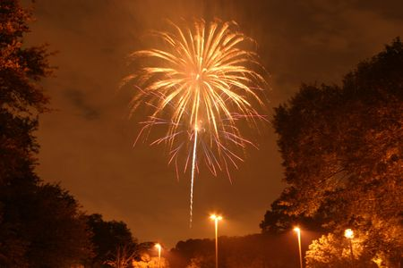 July 4th fireworks celebration in Houston, TX 스톡 사진