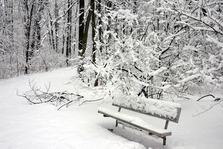 snow on a bench in a park
