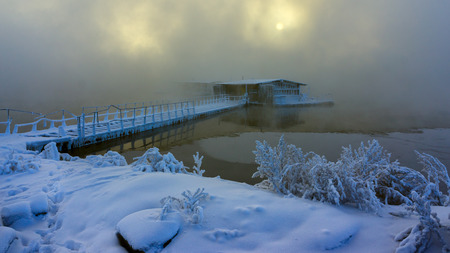drimmelen: Research base in water winter landscape with snow