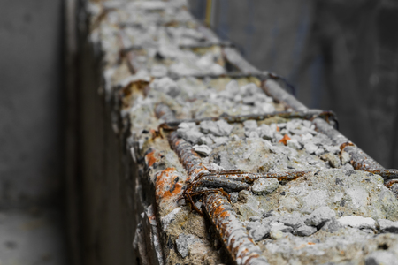 Focus of steel rod inside a reinforce beam concrete structure in construction site work. Stock Photo