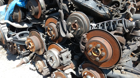 Rusted Old Axles, Spare Parts of vehicle,  selective focus. Stock Photo