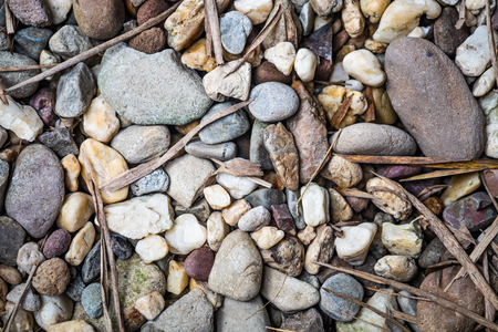 A top view of gravel or pebbel stone and dry leaves background with a little sunlight effect.