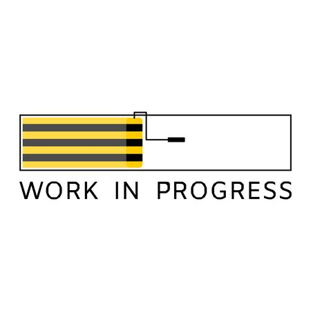 Work in progress warning sign with yellow and black stripes painted , showed on concept of loading bar with paint roller with isolated background.