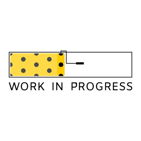 Work in progress warning sign with yellow and black poka dots style painted , showed on concept of loading bar with paint roller with isolated background. Ilustrace