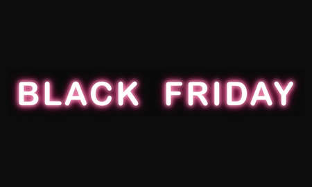 Black friday sales text neon light effect, after christmas and thanksgiving day.