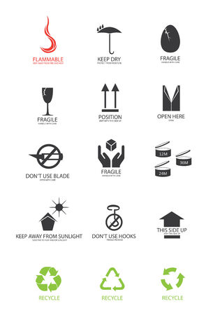 sign here: packaging symbols in vector format Illustration