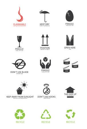 packaging symbols in vector format Illustration