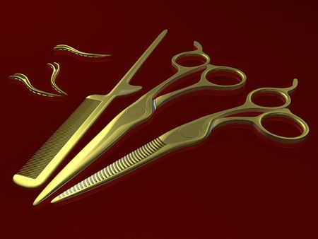golden scissors, comb and hair clips