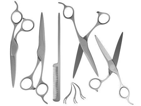 generic 3d scissors comb and hair clips Stock Photo