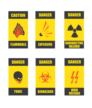 flammable warning: danger signs in vector format