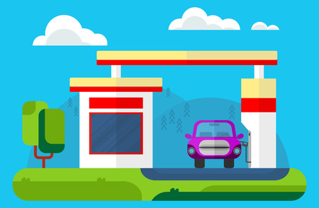 car oil: Old velvet car refuel on gas station Illustration