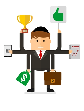 multitask: Multitasking jewish businessman. Many hands holding cup, suitcase,money bag, laptop, plan.Conceptual vector image of businessman character.Cartoon flat vector illustration. Objects isolated.