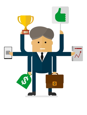 multitask: Multitasking indian businessman. Many hands holding cup, suitcase,money bag, laptop, plan.Conceptual vector image of businessman character.Cartoon flat vector illustration. Objects isolated.