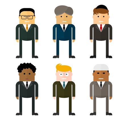 multinational: Set of characters of businessmen from different countries. Multinational team.Team work concept. Conceptual image of a businessman character.Cartoon flat vector illustration. Objects isolated. Illustration