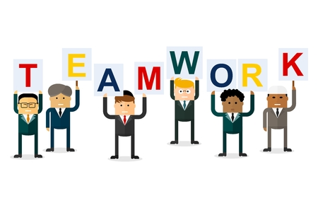 multinational: Group of businessmen holding signs with the word teamwork. Multinational team.Team work concept. Conceptual image of a businessman character.Cartoon flat vector illustration. Objects isolated.