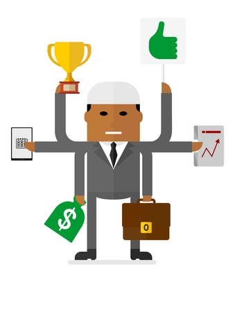 multitask: Multitasking arabian businessman. Many hands holding cup, suitcase,money bag, laptop, plan.Conceptual vector image of businessman character.Cartoon flat vector illustration. Objects isolated.